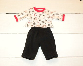 White Guitar Patterned Tshirt and Black Pants - 14 - 15 inch boy doll clothes
