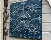 Vintage Ceiling Tin Tile. 2'x2'. 10th Tin Anniversary Gift.  FRAMED Metal tile. Antique Architectural salvage, Indigo Blue Wall Decor Art