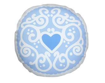 Pastel Jammy Heart Printed Cushion - Sky Blue / Biscuit Cushion - Cookie Pillow
