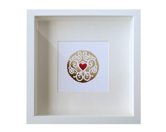 Gold and Ruby Jammy Heart Foil Print / Metallic Print - Cookie Print - Embossed Print