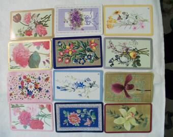 12 Playing cards, Flower Playing cards, Playing Cards Swap, Playing Cards Lot, Vintage playing cards
