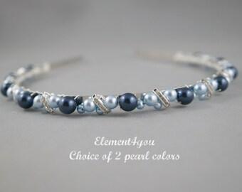 Bridal Headband, Pearl headband, Bridal headpiece, Wedding hair tiara, Rhinestone ivory black blue pearls hair  piece, Swarovski pearls