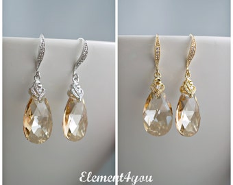 Champagne Clear crystal earrings Bridal teardrop earrings Fancy CZ earwires Golden shadow tear drop Wedding jewelry Mother of bride earrings