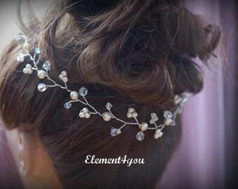 Bridal hair vines, Pearls & crystals, Bridal wedding headband, Bridal headpiece,  Hair piece, Bridal wreath, Wedding hair accessories, Ivory