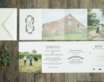 Rustic Accordion Fold Laurel Wedding Invitations - All-In-One Wedding Suite with Tear Off RSVP card & Photos (190)