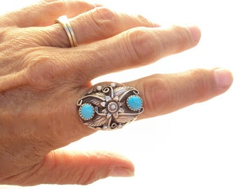 Ring Sterling and Turquoise Native American Large Vintage