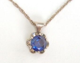 Sterling Pendant Blue Crystal Necklace Vintage