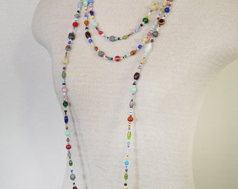 "Beaded NECKLACE - Long 22"" (44"") Multiple Primary Colors Peach Red Aqua Teal Amber Seed Bead Glass Bead - Goes with Everything Necklace 57"