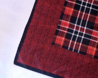 Red Plaid Silk Scarf with Herringbone Edge Print, Red Black White Tartan Center, Small Square Shape