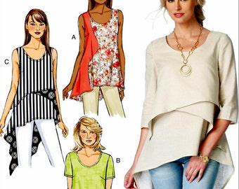 Misses Tunic Tops Pattern, Pullover Tunic Tops Pattern, Butterick Sewing Pattern 6172