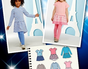 Girls' project Runway Dress Pattern, Girls' Knit Dress Pattern, Simplicity Sewing Pattern 1023