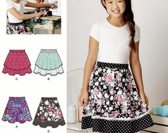 Learn to Sew Girls' Skirt Pattern, Little Girls' Easy Skirt Pattern, Girls' Elastic Waist Skirt Pattern, Simplicity Sewing Pattern 8106