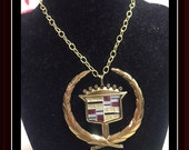 Vintage Large CADILLAC WREATH Gold EMBLEM Pendant Necklace Caddy Love