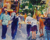 Original Painting, People on a City Street, Colorful Modern Art