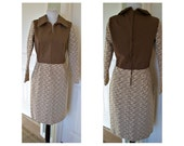 Vintage 1970s Glenbrooke  retro cool brown dress - 70s Groovy