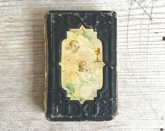 Antique Polish Prayer Book, Little key Of Heaven, Embossed Cover Illustrated