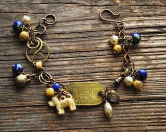 Vintage Dog Tag Charm Bracelet in Blue and Yellow Millefiori - Vintage Assemblage