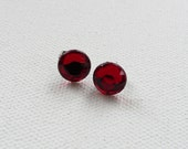 CLEARANCE - Round Red Stud Earrings