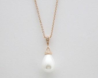 Rose Gold Pearl Bridal Necklace Wedding Jewelry Pearl Jewelry Pearl Pendant Rose Gold Pearl Necklace Bridal Jewelry, Skylar