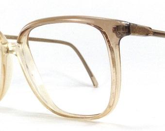 vintage 80's used square eyeglasses frame plastic oversize retro eye glasses eyewear optical translucent brown tan neutral unisex simple 95