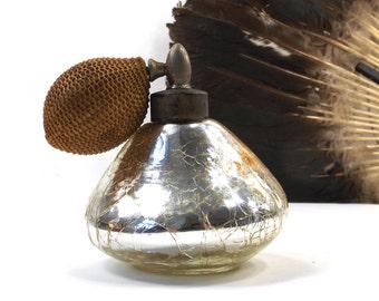 vintage 30s 40s mercury glass bottle perfume atomizer art deco antique old decorative home decor women vanity beauty mirror boudoir risque