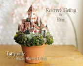 RESERVED for Pam - Potterville Miniature Medieval Walled Village of Houses and Towers w/ Flower Boxes & Pine Trees - Italian Terracotta Pot