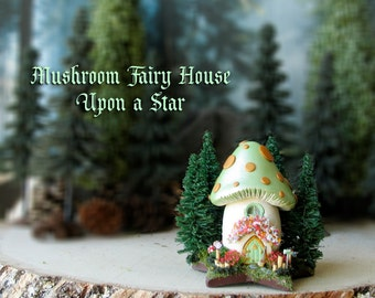Mushroom Fairy House Upon a Star - Miniature Pearl Mint Green Capped Woodland House - Pine Trees, Arched Fairy Door and Flowering Bushes