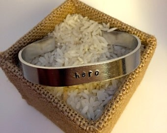 Hero (Dragon Age) hand-stamped cuff bracelet