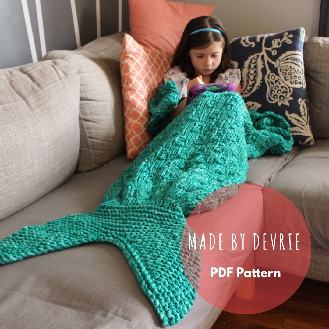 DIGITAL Download Mermaid Tail Blanket KNITTING PATTERN