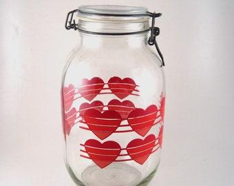 Large glass jar - heart printed glass jar - huge canning jar - gasket and wire latch jar - ermetico carlton glass 3 liter jar - cookie jar