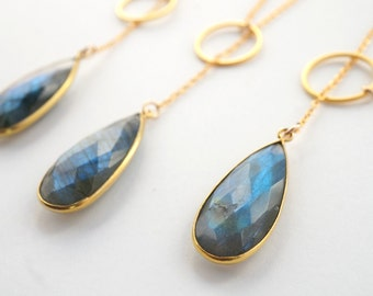 Labradorite Lariat Necklace, Gold Lariat Necklace, Labradorite Pendant Necklace, Bezel Pendant Necklace, Mother's Day Gift