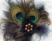 Small and Dainty Navy Blue and Nude Mink Latte Peacock Feather & Pearl Vintage Mini Fascinator Hair Clip