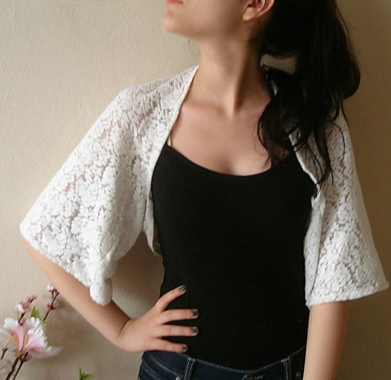 Off White cotton lace top Bridal Lace Bolero Jacket Maternity Lace Jacket