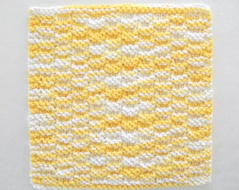 Knit Dishcloth, Cotton Knitted Dishcloth, Knit Washcloth, Yellow Kitchen  Decor, Yellow Dishcloth