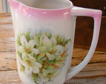 Vintage White Porcelain German Pitcher Pink Lily Flower Design