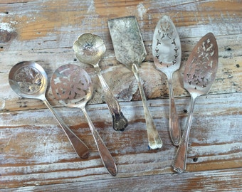 7 Vintage Silver Plate Cake Serving Utensils, Tomato Spoons, Instant Collection