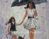 Rain Girls Art Print, mother and daughter paintings, rain paintings, umbrellas, mom and daughter, little girl, wall art, Vickie Wade Art