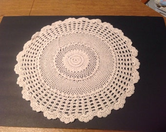 "Vintage 19"" Hand Crocheted Doily Ecru, Cream Table Topper, Round"