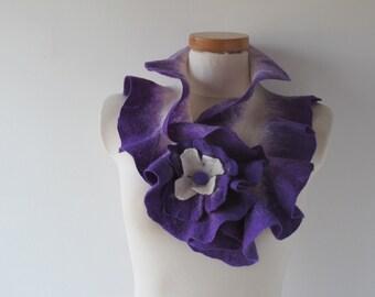 Felted scarf ruffle collar Violet purple  ruffle scarf women scarf  scarf by GalaFilc
