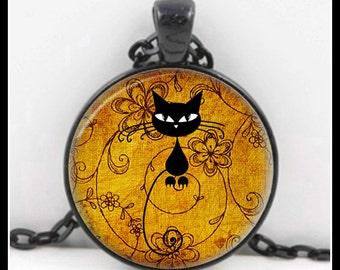 Black Cat Pendant, Black Cat Necklace, Black Cat Jewelry, Glass Necklace - P-BC-5