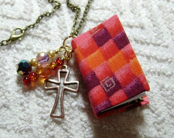 Red Plaid - Handmade Book Necklace - Book Jewelry - Book Pendant - Book Journal - Handmade Book - Gold Cross Charm - BN-145