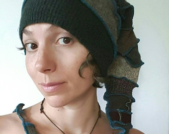 Rustic Green and Brown Gnome Elf Recycled Sweater Hat
