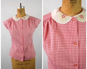 1960s Red Gingham Top - Peter Pan Collar - Dolman Sleeves -Size Small