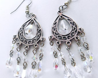 Earrings Silver Filigree Neo Victorian style earrings with Czech crystals