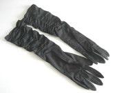 Gloves Vintage Black Nylon Ruched