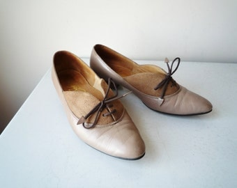 Taupe Suede and Leather Pumps, SALE