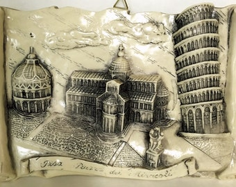 Italy Wall Plaque, The Piazza dei Miracoli, Square of Miracles, Pisa Bapistry, Cathedral, Leaning Tower, Angel Fountain, Vintage 1980's