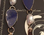 Sterling silver earrings with Blue Lapis stones Pearls and Hanging pieces