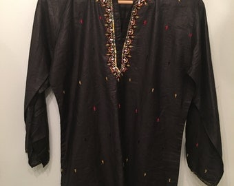 Vintage Indian Black Embroidered Tunic •  Vintage Top • Bohemian Top • Black Cotton Tunic • Small to Medium