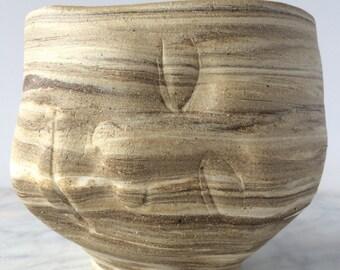 Chawan Face Sculpture Tea Bowl Art Head Dreamer Cup, Marbled Pottery